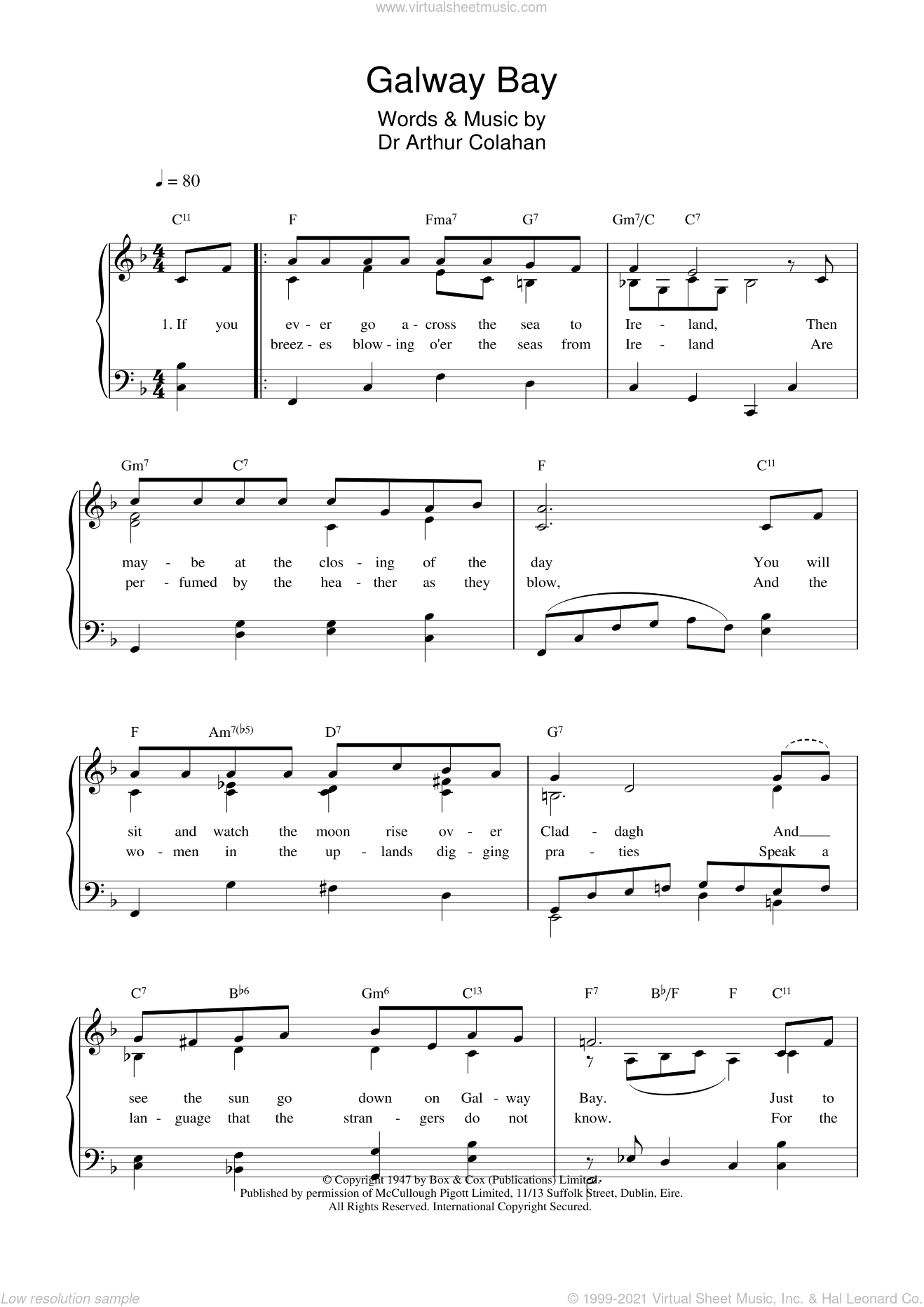Galway Bay sheet music for voice, piano or guitar by Arthur Colahan and Dr. Arthur Colahan, intermediate skill level