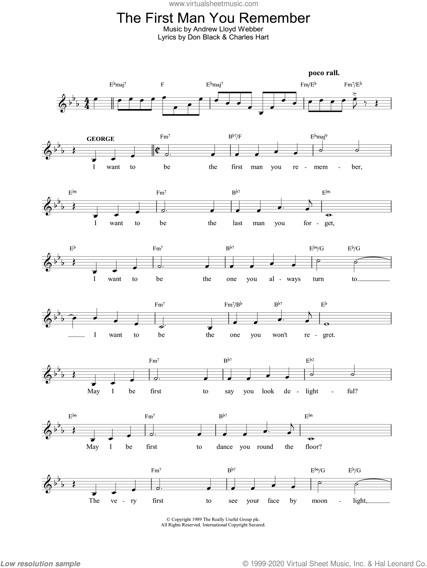 The First Man You Remember sheet music for voice and other instruments (fake book) by Andrew Lloyd Webber. Score Image Preview.
