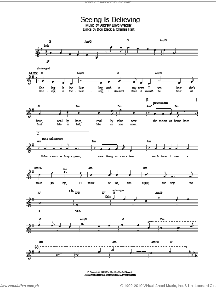 Seeing Is Believing sheet music for voice and other instruments (fake book) by Andrew Lloyd Webber. Score Image Preview.