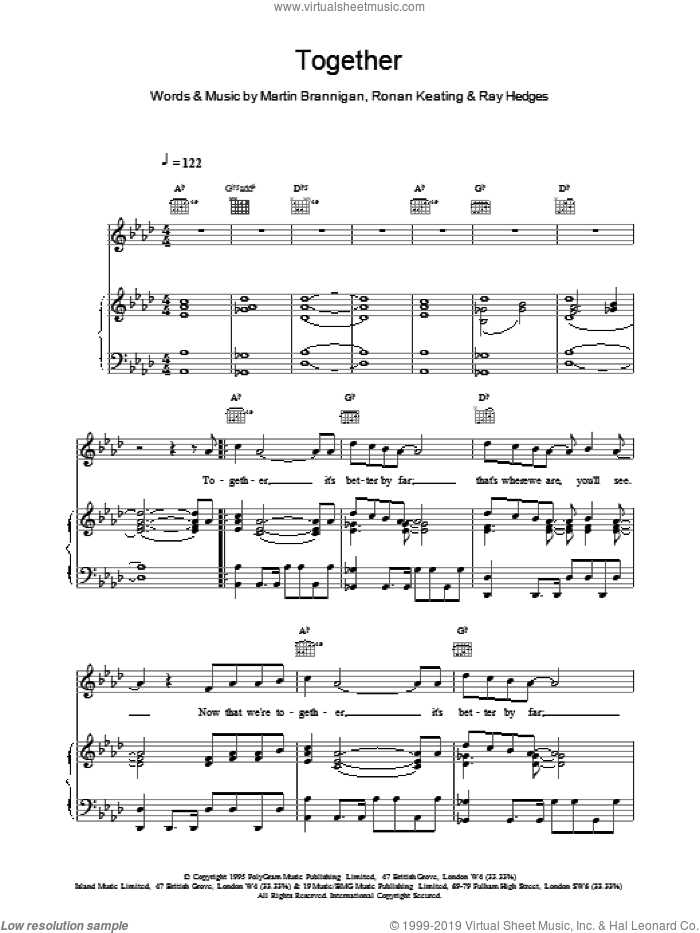 Together sheet music for voice, piano or guitar by Boyzone, intermediate skill level