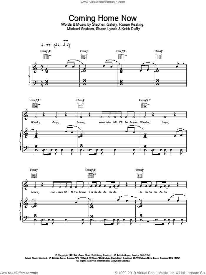 Coming Home Now sheet music for voice, piano or guitar by Boyzone, intermediate skill level