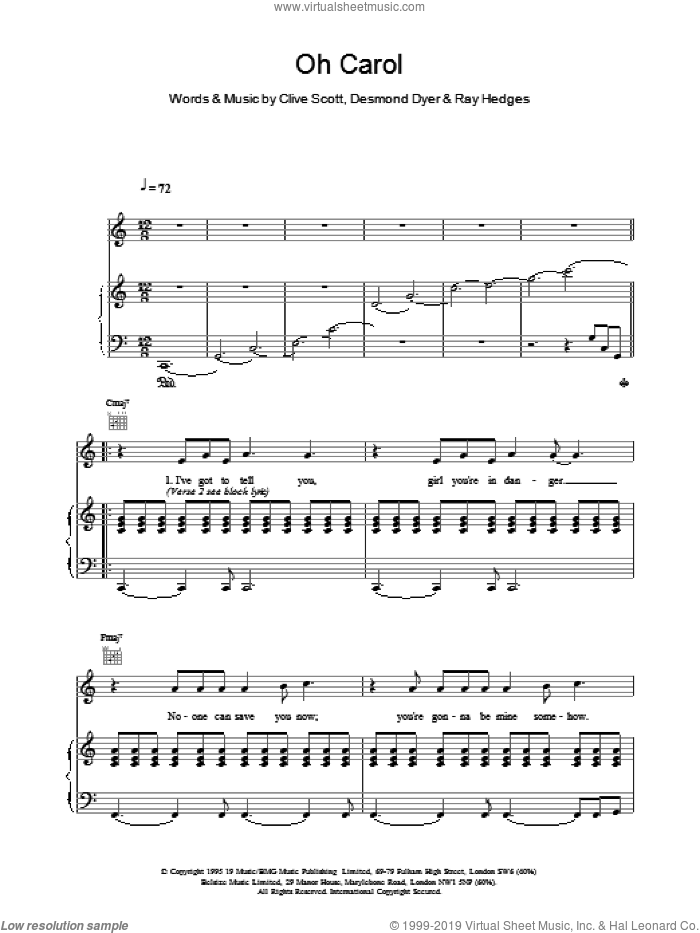 Oh Carol sheet music for voice, piano or guitar by Boyzone, intermediate skill level