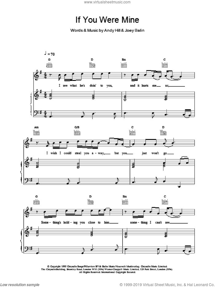 If You Were Mine sheet music for voice, piano or guitar by Boyzone