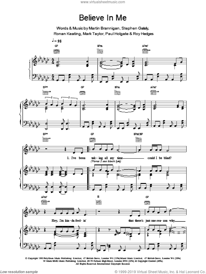Believe In Me sheet music for voice, piano or guitar by Boyzone, intermediate. Score Image Preview.