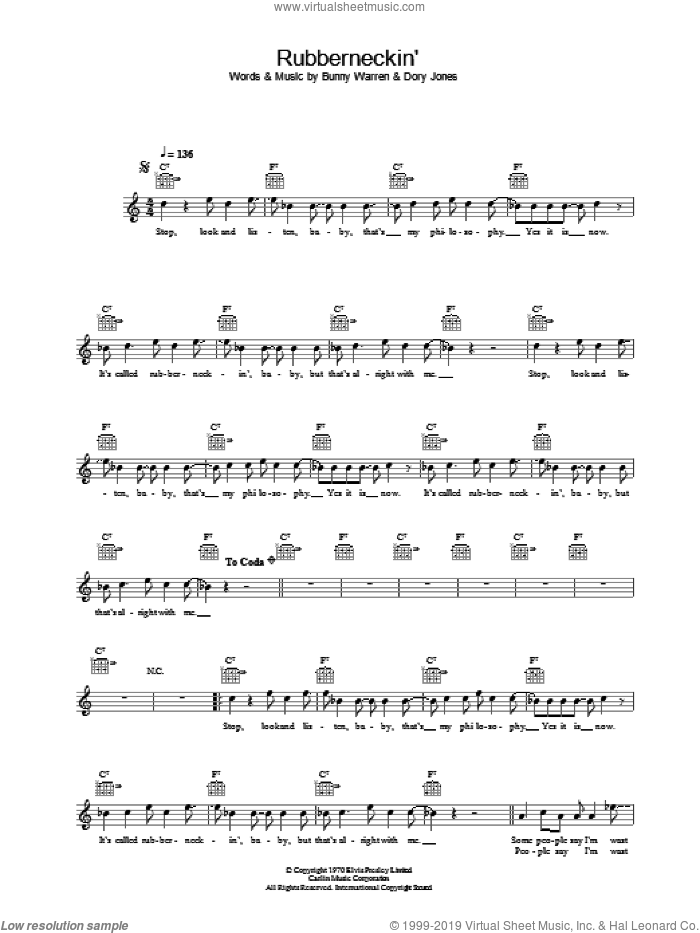 Rubberneckin' sheet music for voice and other instruments (fake book) by Elvis Presley, Bunny Warren and Dory Jones, intermediate skill level