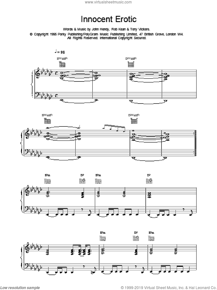 Innocent Erotic sheet music for voice, piano or guitar by East 17, intermediate. Score Image Preview.