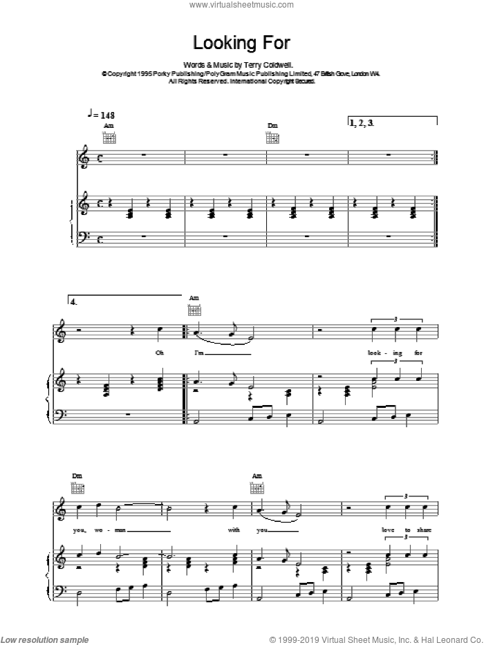 Looking For sheet music for voice, piano or guitar by East 17. Score Image Preview.