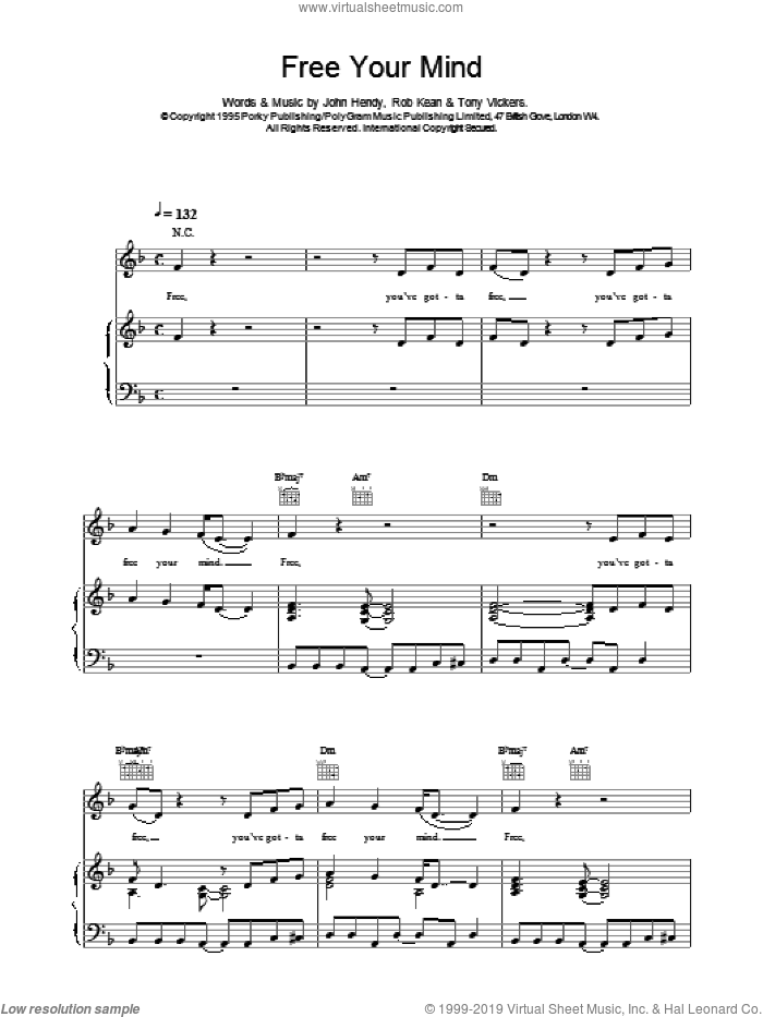 Free Your Mind sheet music for voice, piano or guitar by East 17