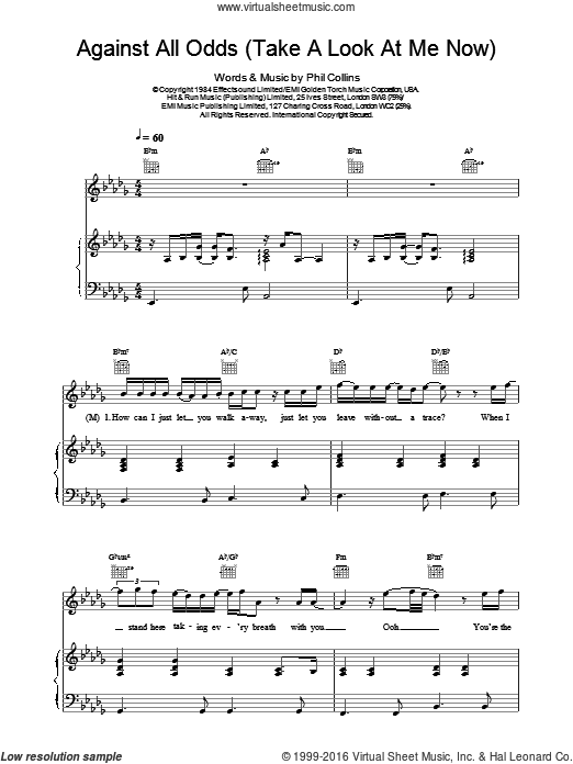 Against All Odds (Take A Look At Me Now) sheet music for voice, piano or guitar by Phil Collins, Mariah Carey and Westlife, intermediate voice, piano or guitar. Score Image Preview.