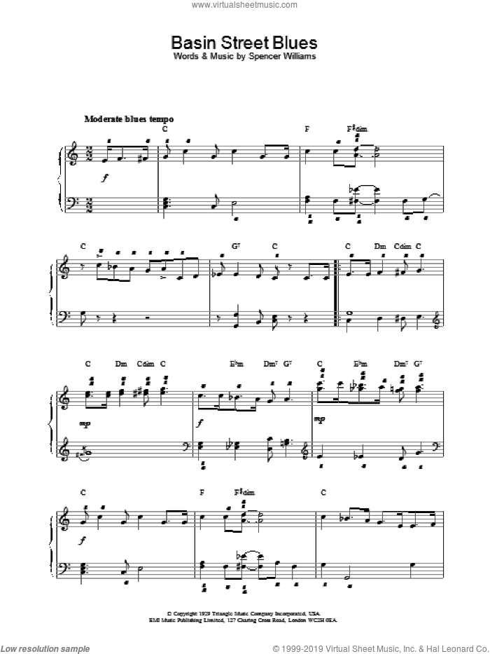 Basin Street Blues, (intermediate) sheet music for piano solo by Louis Armstrong and Spencer Williams, intermediate skill level