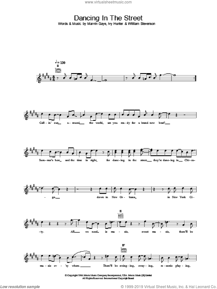 Dancing In The Street sheet music for voice and other instruments (fake book) by David Bowie and Mick Jagger, intermediate skill level