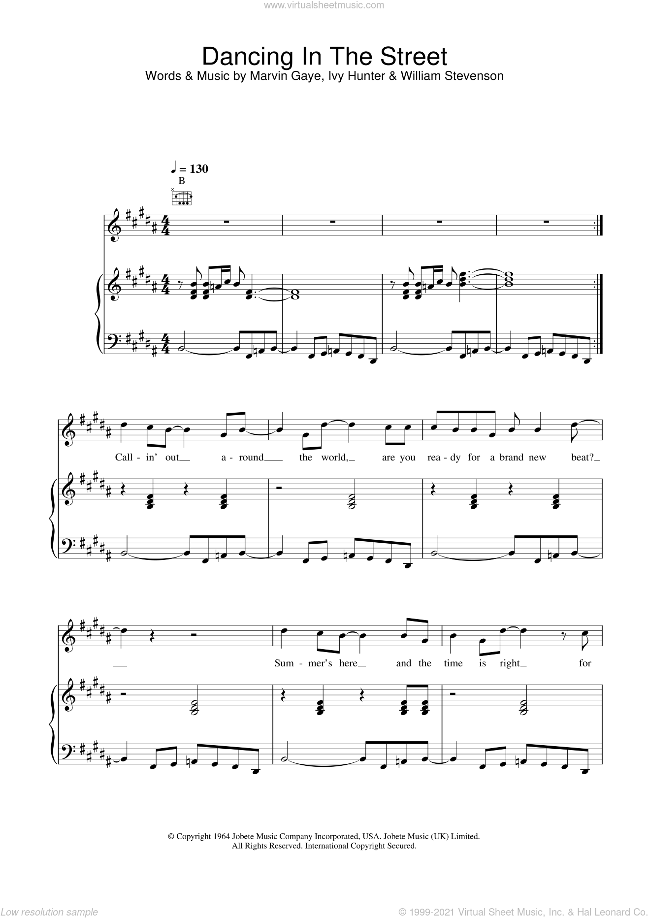 Dancing In The Street sheet music for voice, piano or guitar by David Bowie, Mick Jagger, Ivy Hunter, Marvin Gaye and William Stevenson, intermediate skill level