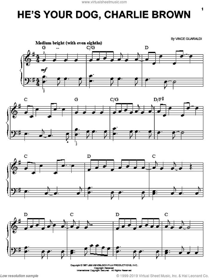 He's Your Dog, Charlie Brown sheet music for piano solo by Vince Guaraldi, easy skill level