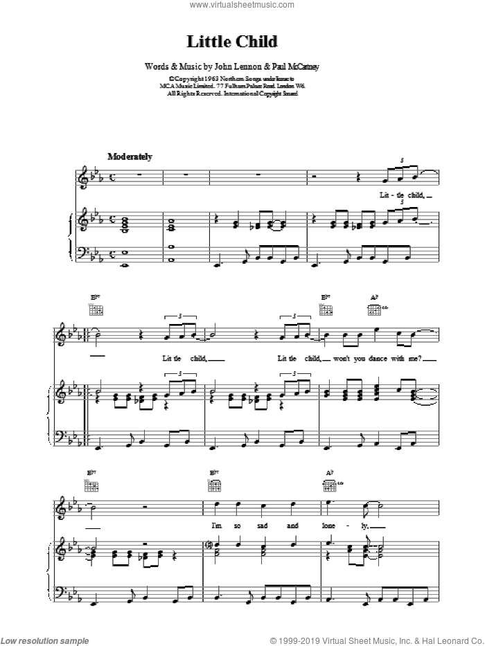 Little Child sheet music for voice, piano or guitar by The Beatles. Score Image Preview.