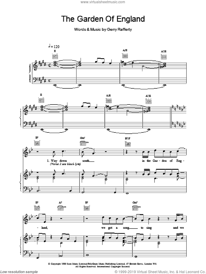 The Garden Of England sheet music for voice, piano or guitar by Gerry Rafferty, intermediate skill level