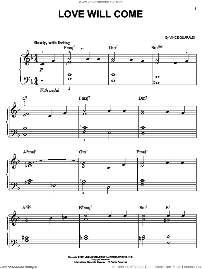 Love Will Come sheet music for piano solo by Vince Guaraldi, easy skill level