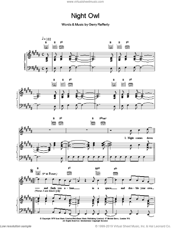 Night Owl sheet music for voice, piano or guitar by Gerry Rafferty, intermediate skill level