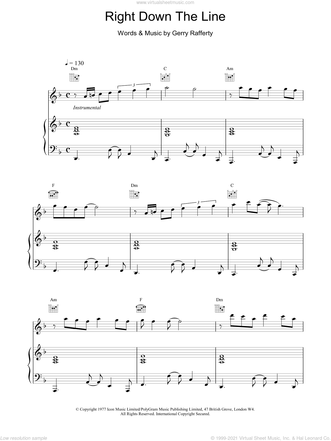 Right Down The Line sheet music for voice, piano or guitar by Gerry Rafferty, intermediate skill level