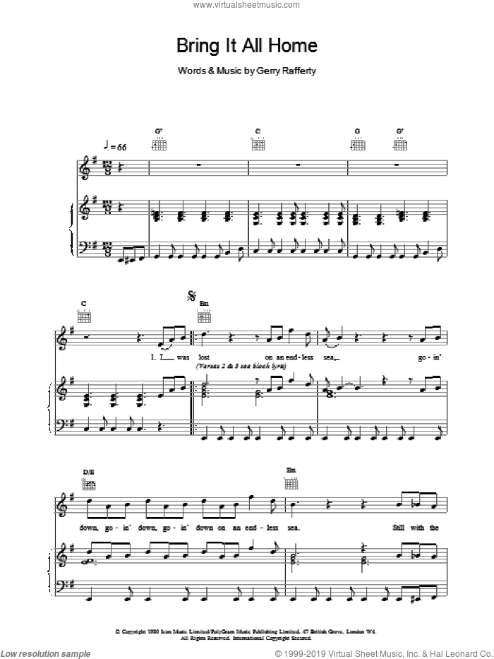 Bring It All Home sheet music for voice, piano or guitar by Gerry Rafferty. Score Image Preview.