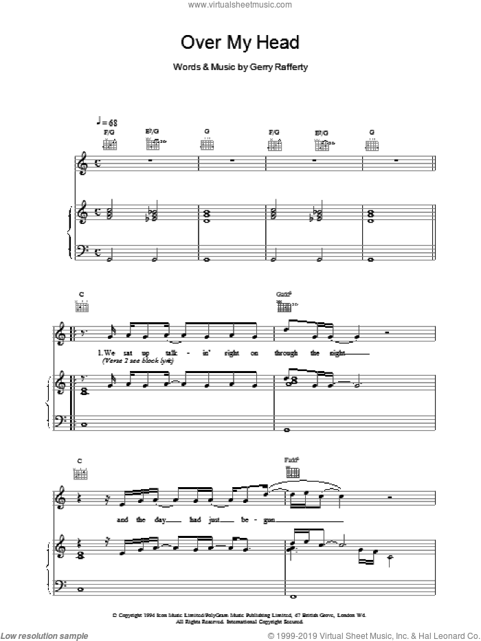 Over My Head sheet music for voice, piano or guitar by Gerry Rafferty, intermediate. Score Image Preview.