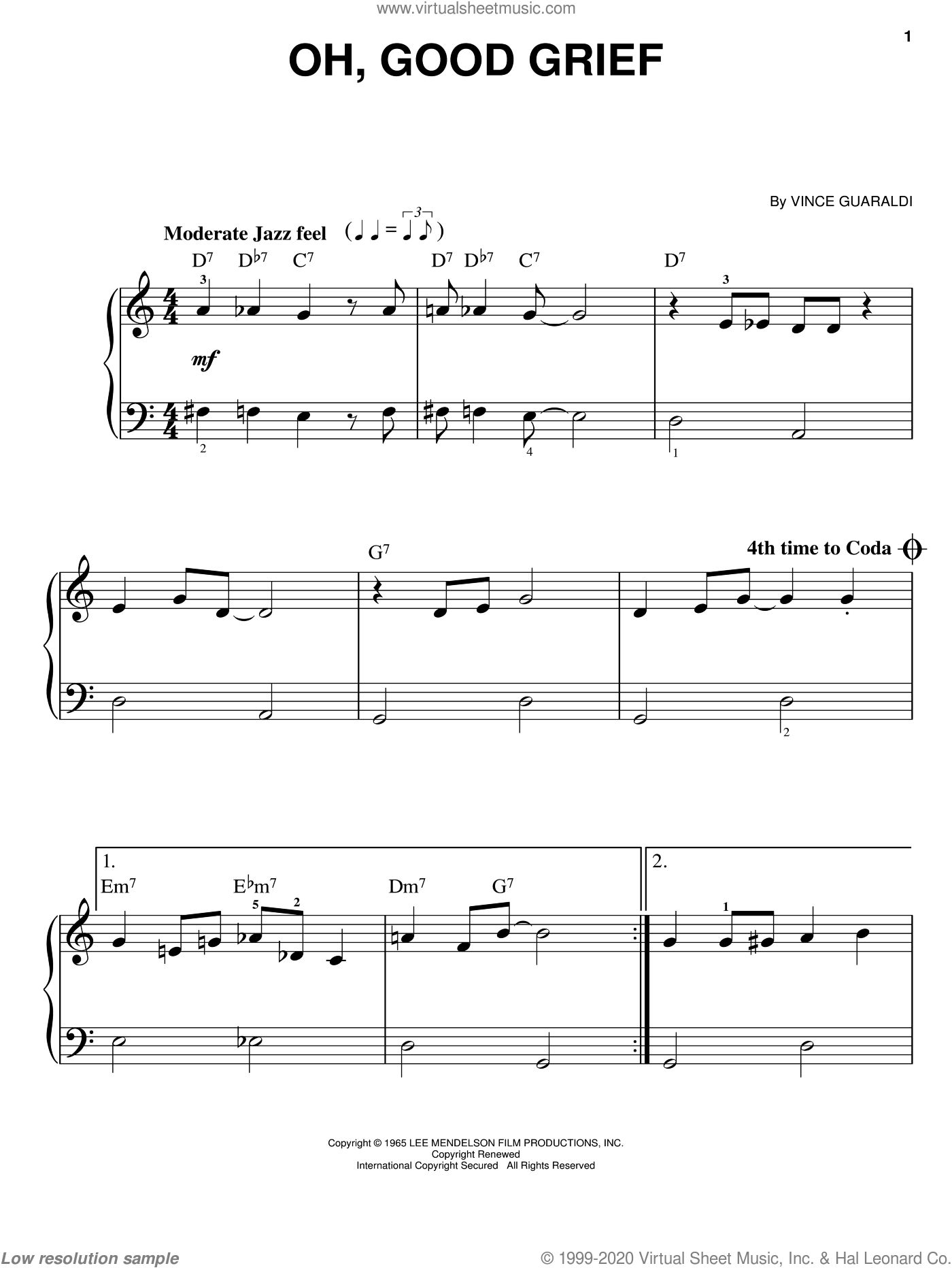 Oh, Good Grief sheet music for piano solo by Vince Guaraldi, easy skill level