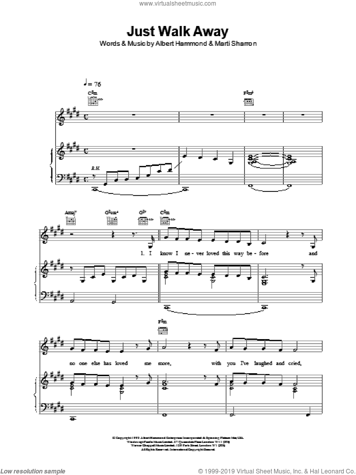 Just Walk Away sheet music for voice, piano or guitar by Celine Dion, intermediate skill level