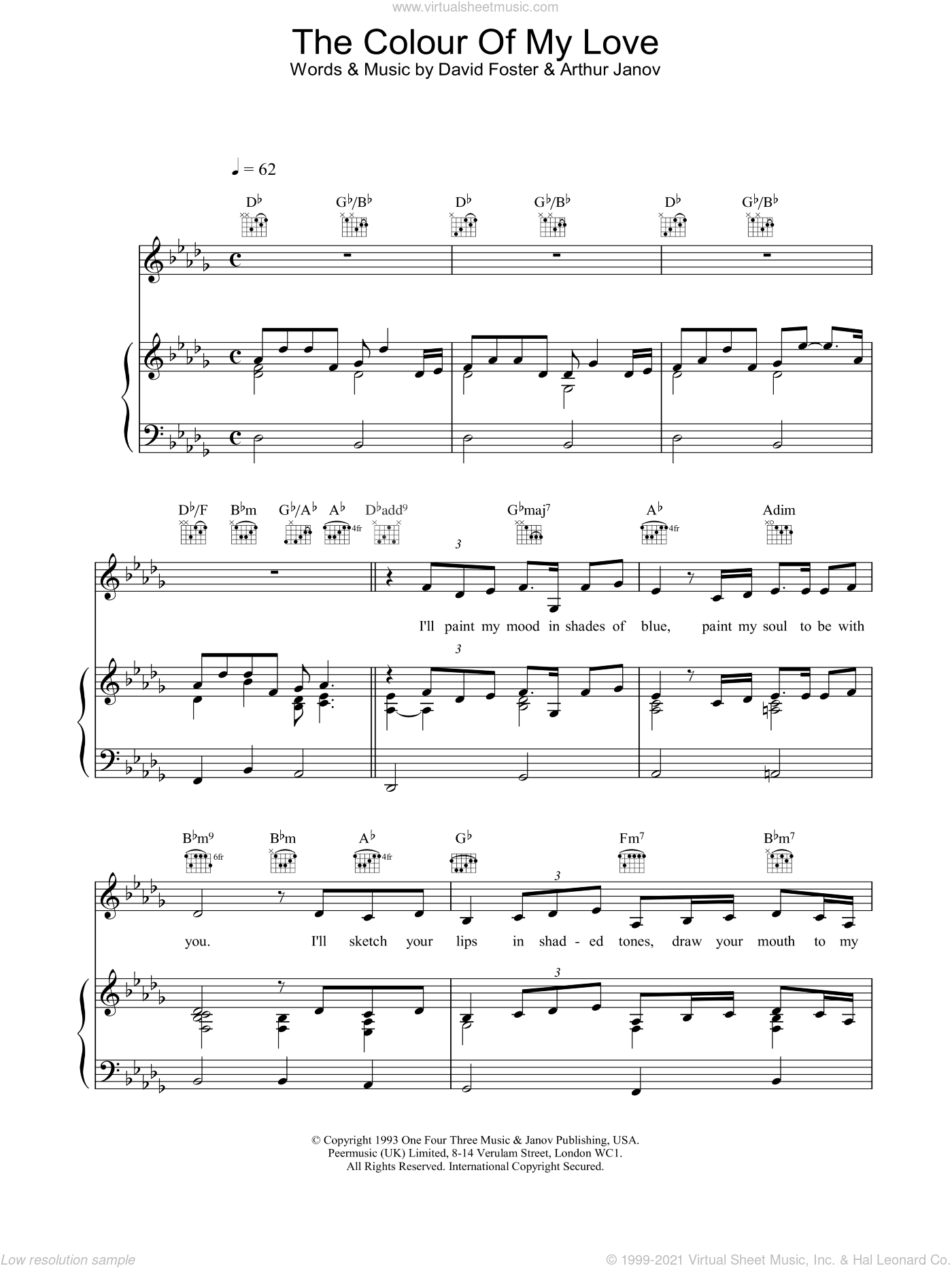 The Colour Of My Love sheet music for voice, piano or guitar by Celine Dion and David Foster, intermediate skill level