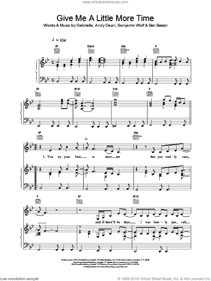 Give Me A Little More Time sheet music for voice, piano or guitar by Gabrielle. Score Image Preview.