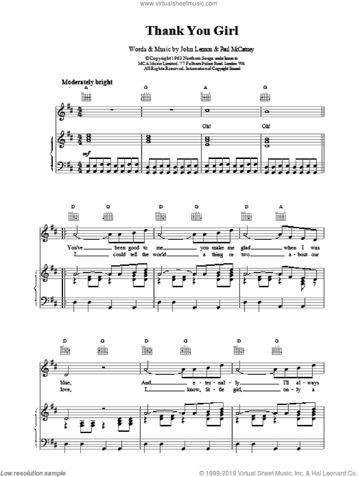 Thank You Girl sheet music for voice, piano or guitar by The Beatles. Score Image Preview.