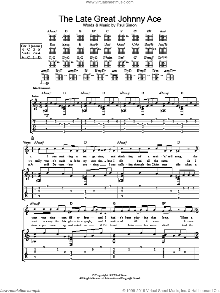 The Late Great Johnny Ace sheet music for guitar (tablature) by Paul Simon. Score Image Preview.