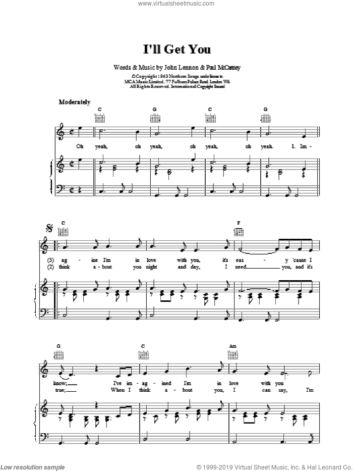 I'll Get You sheet music for voice, piano or guitar by The Beatles, intermediate skill level
