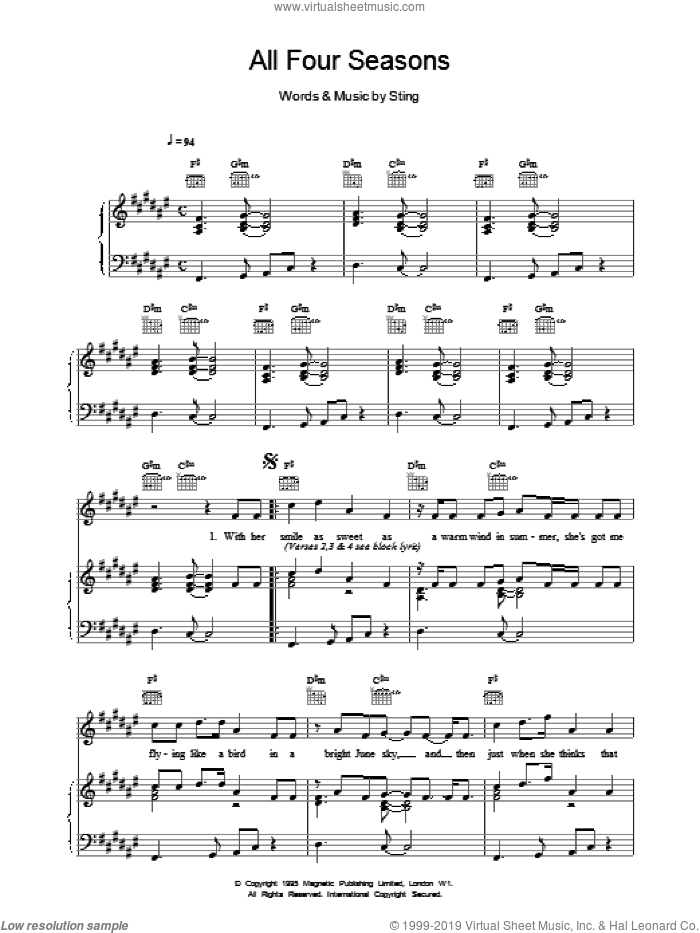 All Four Seasons sheet music for voice, piano or guitar by Sting, intermediate voice, piano or guitar. Score Image Preview.