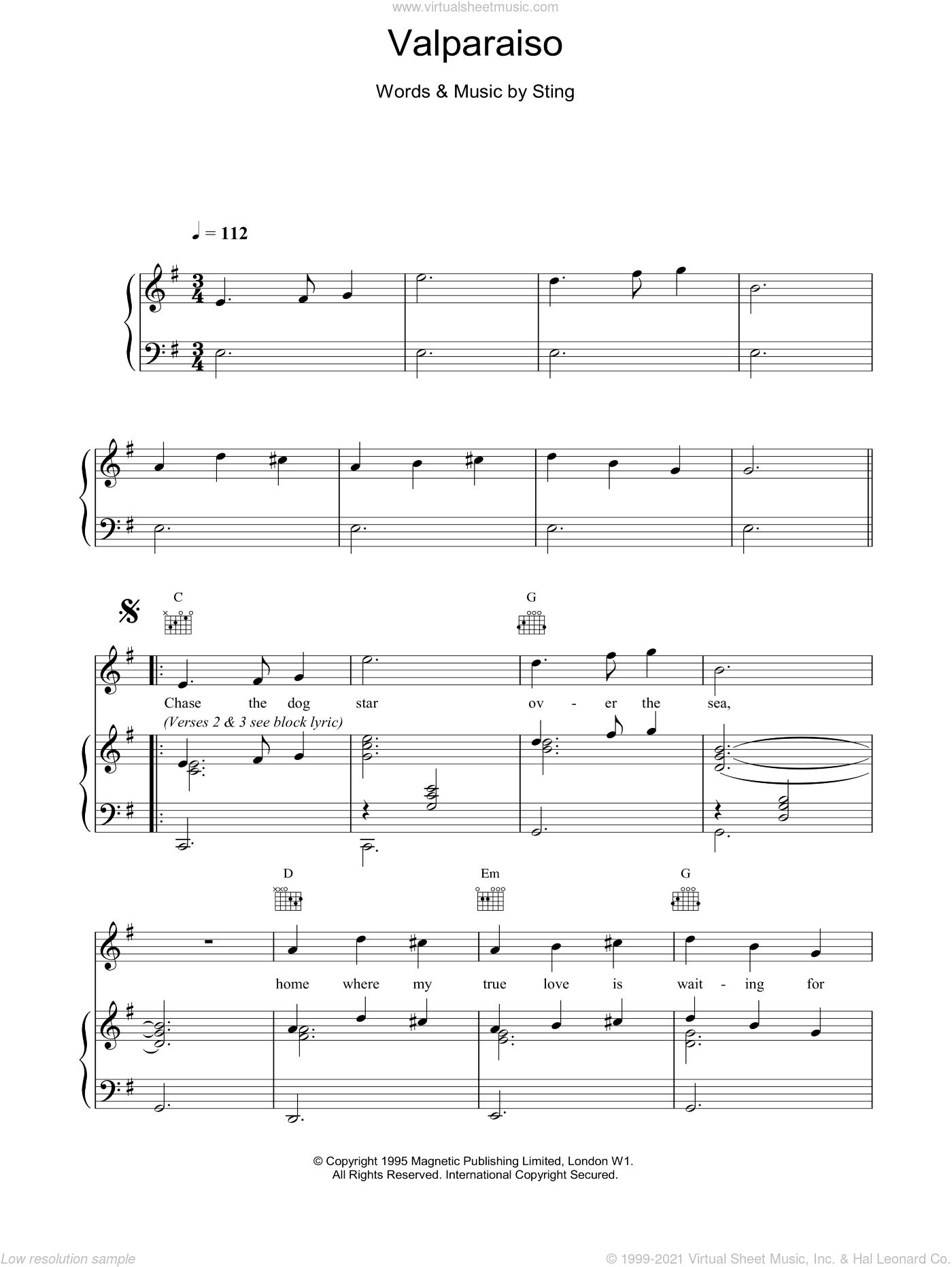 Valparaiso sheet music for voice, piano or guitar by Sting. Score Image Preview.