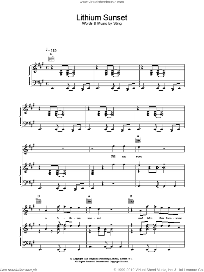 Lithium Sunset sheet music for voice, piano or guitar by Sting, intermediate. Score Image Preview.
