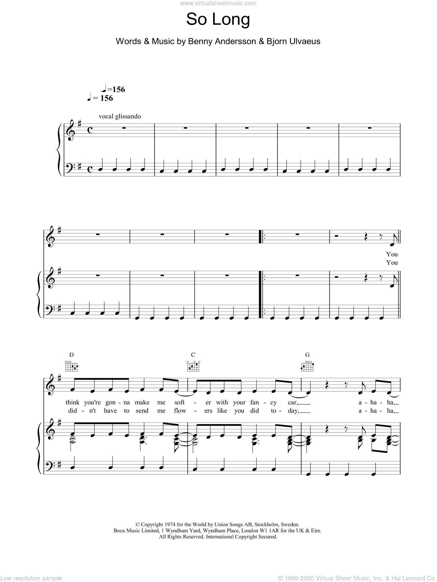 So Long sheet music for voice, piano or guitar by ABBA, intermediate skill level