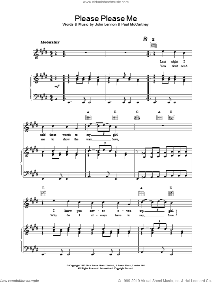 Please Please Me sheet music for voice, piano or guitar by The Beatles, intermediate. Score Image Preview.