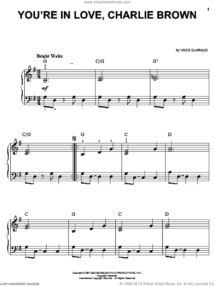 You're In Love, Charlie Brown sheet music for piano solo by Vince Guaraldi, easy skill level