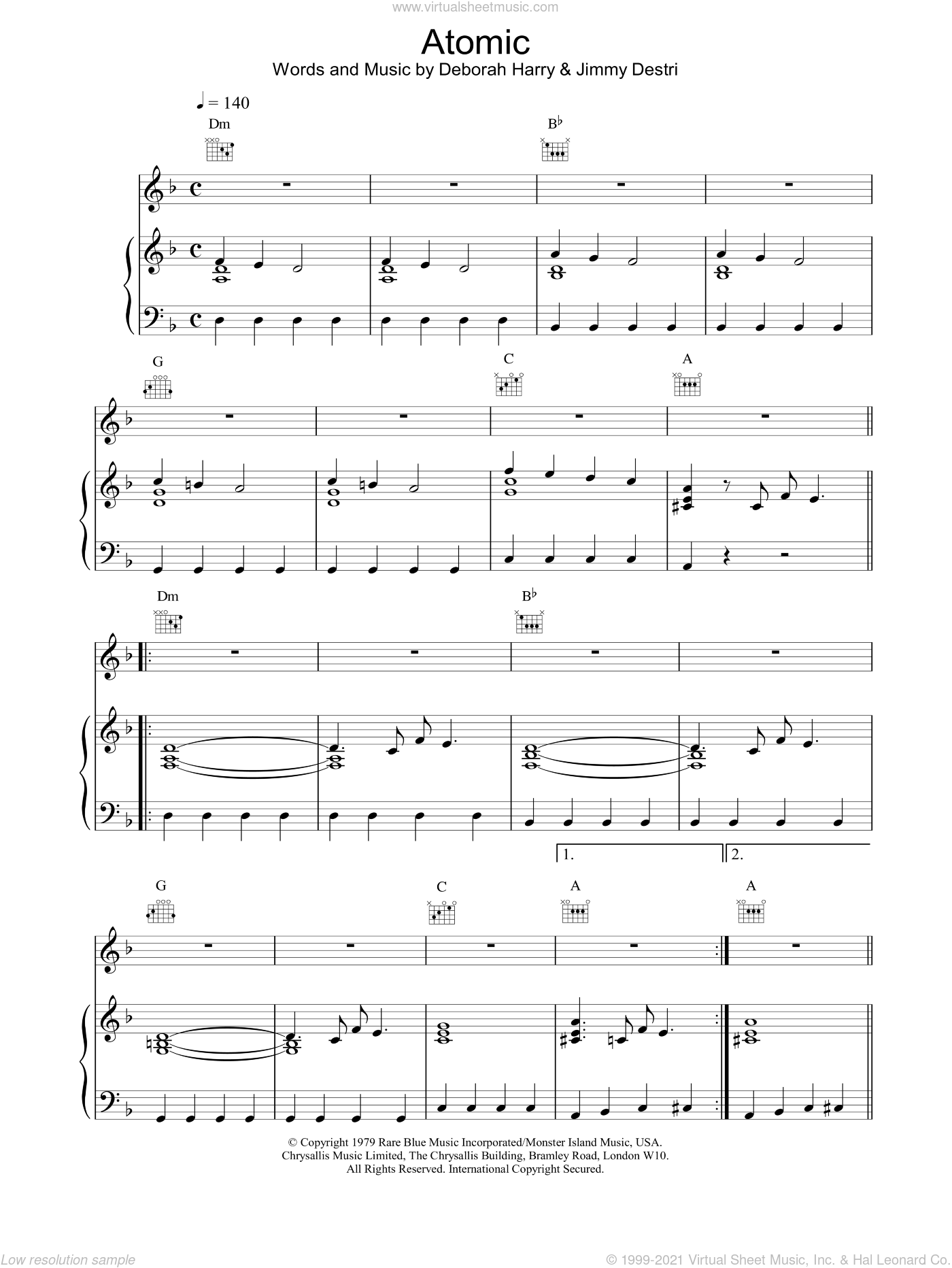 Atomic sheet music for voice, piano or guitar by Blondie. Score Image Preview.