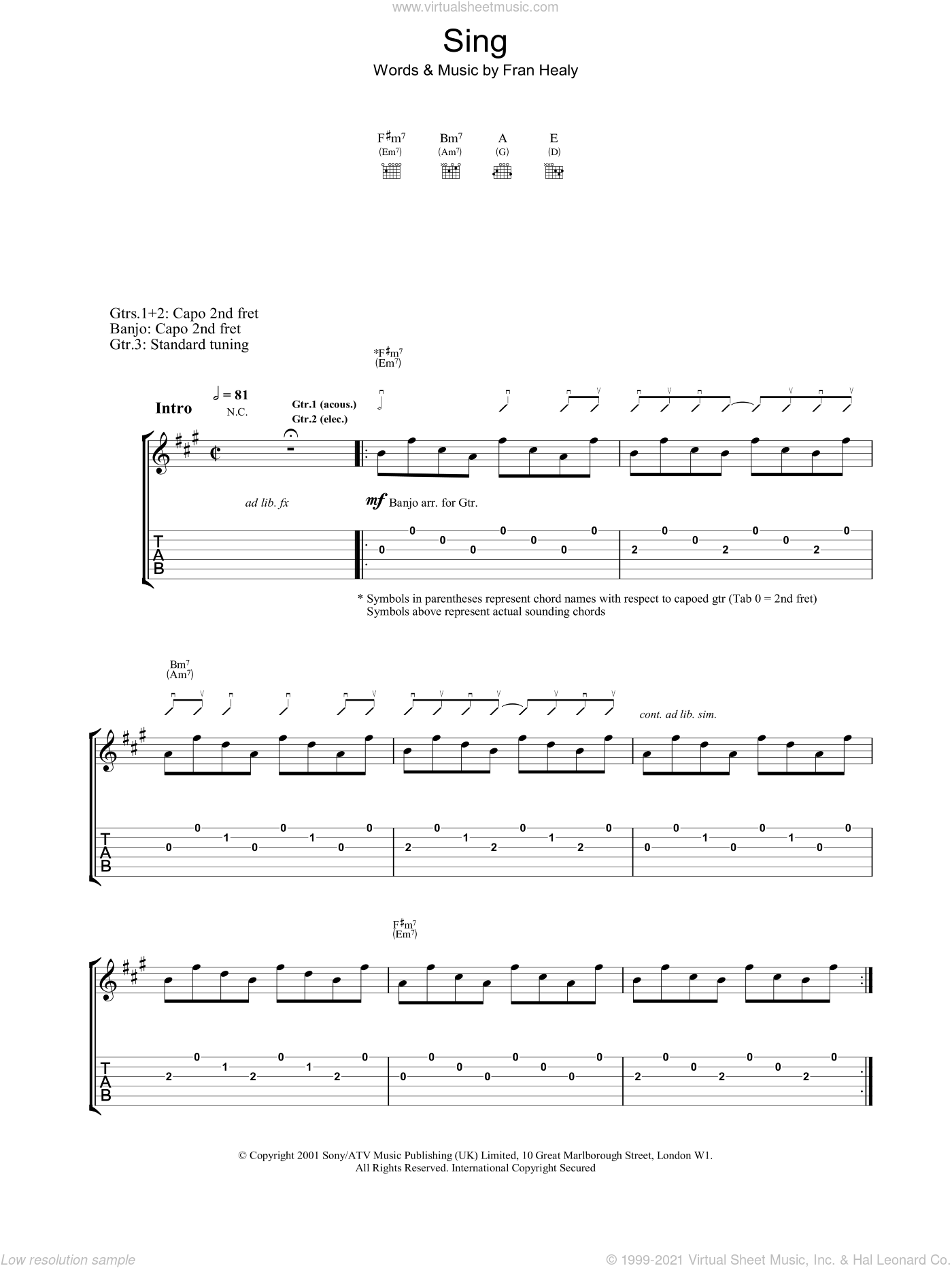 Sing sheet music for voice, piano or guitar by Blur