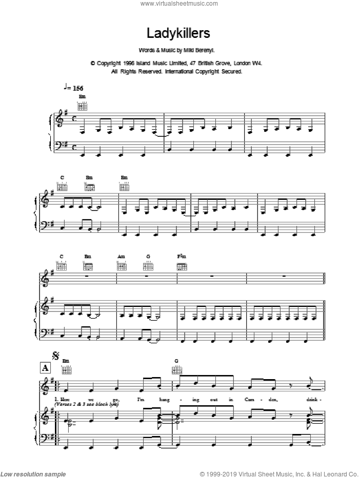 Ladykillers sheet music for voice, piano or guitar by Emma Anderson. Score Image Preview.