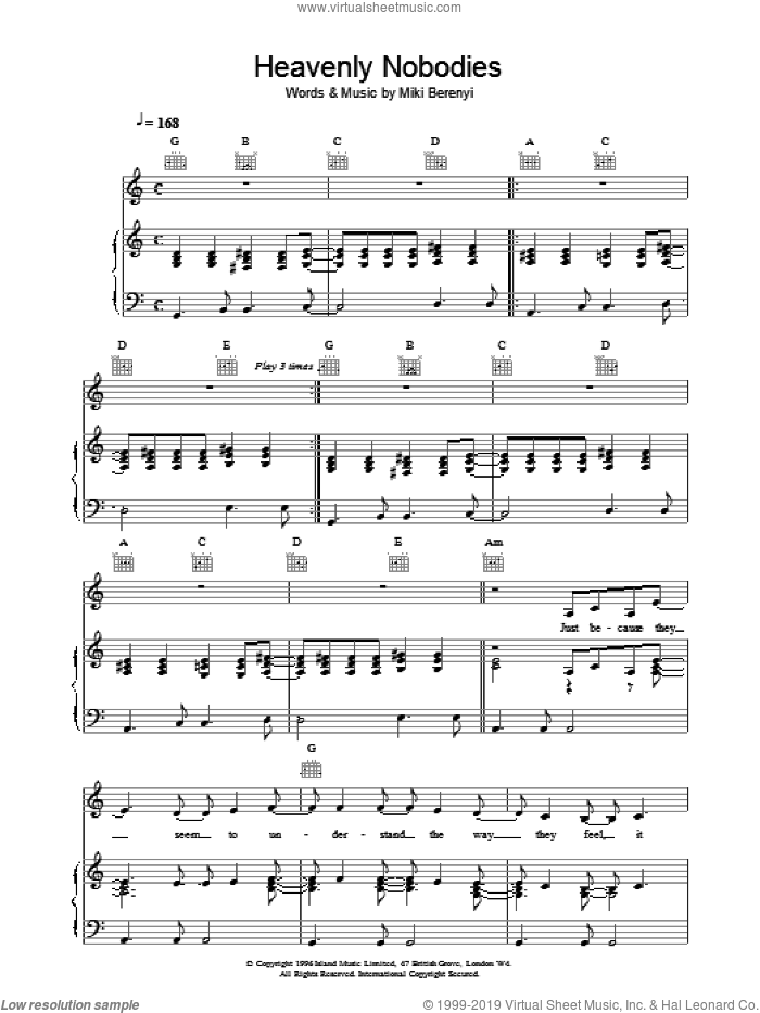 Heavenly Nobodies sheet music for voice, piano or guitar by Emma Anderson