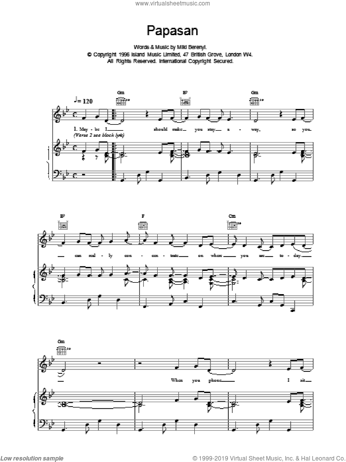 Papasan sheet music for voice, piano or guitar by Emma Anderson. Score Image Preview.