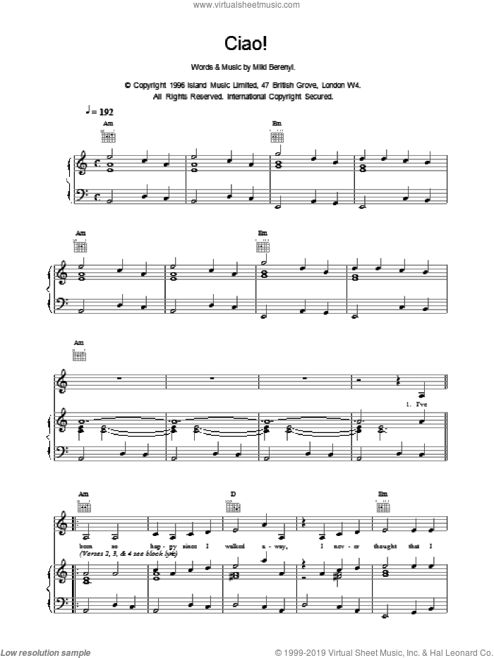 Ciao! sheet music for voice, piano or guitar by Emma Anderson, intermediate voice, piano or guitar. Score Image Preview.