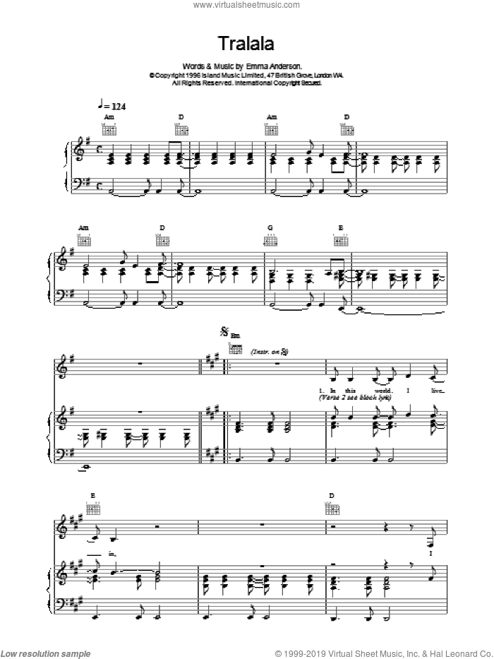 Tralala sheet music for voice, piano or guitar by Emma Anderson. Score Image Preview.
