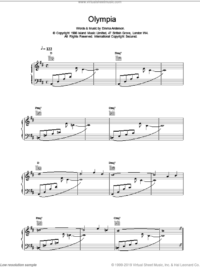 Olympia sheet music for voice, piano or guitar by Emma Anderson, intermediate skill level