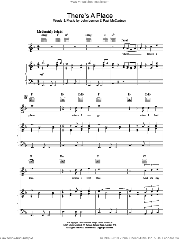 There's A Place sheet music for voice, piano or guitar by The Beatles. Score Image Preview.