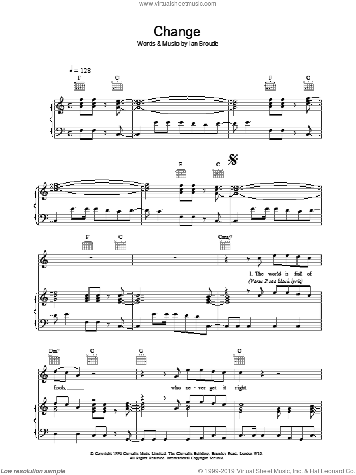 Change sheet music for voice, piano or guitar by The Lightning Seeds, intermediate