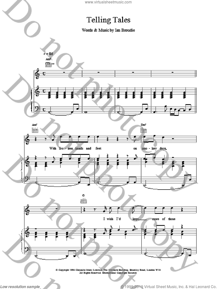 Telling Tales sheet music for voice, piano or guitar by The Lightning Seeds, intermediate. Score Image Preview.