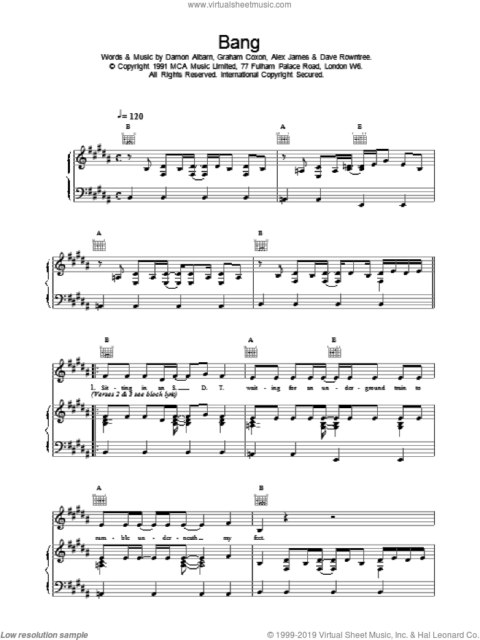 Bang sheet music for voice, piano or guitar by Blur, intermediate. Score Image Preview.