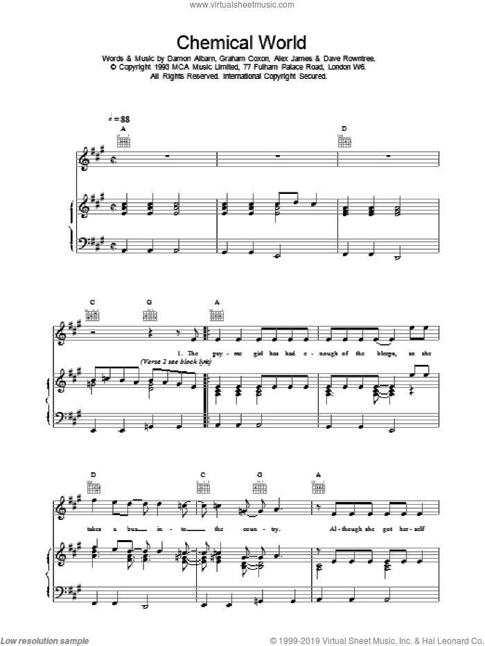 Chemical World sheet music for voice, piano or guitar by Blur, intermediate